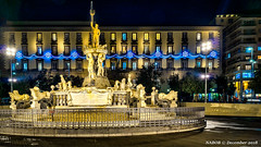 Naples, Italy: Fontana del Nettuno (Fountain of Neptune) outside City Hall (nabobswims) Tags: campania fontanadelnettuno fountain fountainofneptune hdr highdynamicrange ilce6000 it italia italy lightroom mirrorless nabob nabobswims naples napoli night nightfoto photomatix sel18105g sonya6000