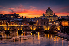 Magnificent Roma (george papapostolou) Tags: rome cityscape building exterior dusk arch bridge city italia italy roma nikon d850 nikonphotographer sunset twilight