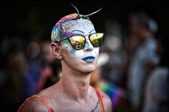 chin up (gro57074@bigpond.net.au) Tags: chinup rainbow makeup reflection sunglasses glitter man f28 70200mmf28 nikkor d850 nikon color colour march 2019 mardigras sydney pride portrait guyclift