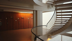 Porthania, University of Helsinki (Joshua Khaw) Tags: modernist interior staircase finland helsinki university building retro spiral wood elevator mid century architecture timber light