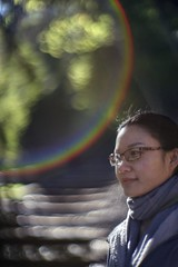 On the way to the bamboo garden (PeterThoeny) Tags: saratoga california siliconvalley usa sanfranciscobay sanfranciscobayarea southbay hakonegardens japanesegarden garden park tree stairs woman portrait face glasses day outdoors rainbow bokeh blur dof shallowdof depthoffield shallowdepthoffield sony a7 a7ii a7mii alpha7mii ilce7m2 fullframe vintagelens dreamlens canon50mmf095 canon 1xp raw photomatix hdr qualityhdr qualityhdrphotography lensflair fav50