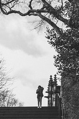 In the frame. (Bearded Shooter) Tags: girl woman women female model person people portrait blackwhite contrast sky trees stairs church steps town city street lancaster uk nikon mynikon d7200 55200mm streetphotography