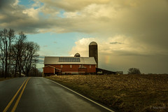 rainbow barn (Jen MacNeill) Tags: clouds sky weather pa pennsylvania lancaster county rural country colorful farm barn silo road leading lines drive barns agriculture sunset sundown