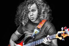 give me some slack .... (daystar297) Tags: portrait teen teenager girl musician music jazz blues performer performance guitar bassguitar nikon bw color manipulation