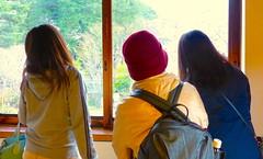 El sakura enamora (Felipe Sérvulo) Tags: tokio sakura mitakashi señoras mujeres chicas ventana windows cristal tourism art turismo arte elegance elegancia luz light