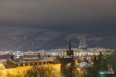 Cloudy Night in Narvik (kevin-palmer) Tags: narvik norway arctic march winter cold evening night cloudy overcast arcticocean sea scandinavianmountains nikond750 tamron2470mmf28 church steeple lights ofotfjord