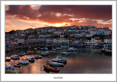Sunset over Brixham Harbour (flatfoot471) Tags: 2016 boats bracketed brixham church devon dusk england fishing goldenhindreplica harbour holiday july ships summer sunset twilight unitedkingdom 18125sigma
