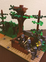 Normandy Bocage angle #3 (thelameguitarist) Tags: lego ww2 german normandy bocage hedgerow mg nest bunker brickarms trees