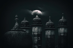Blue Moon over Bikaner (HWHawerkamp) Tags: india bikaner architecture buildings domes moon mood clouds night travel blue monochrome city