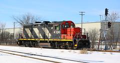 CN 4100, Nose, Towmen, Fox Crossing, 9 Feb 19 (kkaf) Tags: gp9rm cn zebra towmen foxcrossing shawanojct