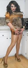 Rusty Leopard (therealdavinawayne74) Tags: tgirl trans tranny drag dragqueen crossdresser crossdressing crossdressed animalprint leopardprint pumps heels stilettoheels hosiery pantyhose tights nylon makeup gurl