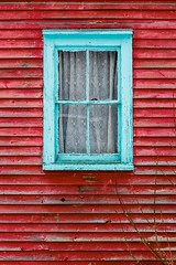 Old Window (Karen_Chappell) Tags: window red blue trim paint painted wood wooden pettyharbour clapboard newfoundland house home architecture building rural canada atlanticcanada avalonpeninsula eastcoast lace curtains