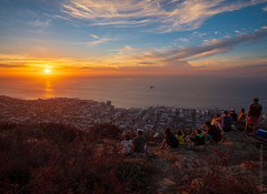Cape Town Sunset Watchers (www.mikereidphotography.com) Tags: southafrica capetown moon sunset landscape city africa fuji gfx50s ocean sea sky people rock water
