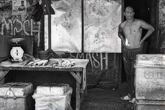 Man and Fish (Beegee49) Tags: street man fish selling white black monochrome bw luminar sony a6000 bacolod city philippines asia happyplanet asiafavorites