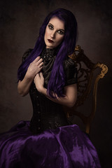 Aly Issabelle (Wurmwood Photography) Tags: nikon godox fovitec light lighting rembrandt painterly painting portrait people face women woman lovely lady beauty hair purple color colorful classic classical classy makeup grace ornate gold