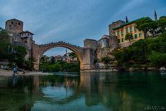 peaceful joy (ck0375s) Tags: river bridge nikon amateur landscape town night sunset wter riflection bosna hercegovina