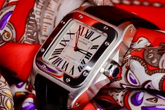Iconic Parisian luxury (joanne clifford) Tags: macro timepieces silkscarf scarf luxury watch albertosantosdumont louiscartier hermes cartiersantos cartier macromondays