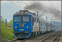 62-1095-9 (Zoly060-DA) Tags: romania cluj napoca 2100 hp 120 kmh sulzer diesel locomotive swiss brown boveri license electroputere craiova build passenger train fast ir1745 4 coaches rail rails line lines smoke throttle co 62 1095 passing cfr calatori blue white engine green grey depot