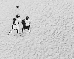 a short story about playing with a shadow (ignacy50.pl) Tags: blackandwhite birdseyeview sand beach people ball activity action sun summer leisure warsaw