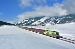 "ÖBB ""CAT"" 1016 036 Kirchberg in Tirol (tobias.unsin) Tags: railway rail railroad train zug alps austria alpen winter world photography panorama railjet"