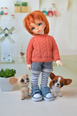 Ante and puppies. (Fenekdolls) Tags: bjd doll toy fairyland ante chihuahua puppy