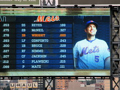 Citi Field, 09/29/18 (NYM v MIA, David Wright's final game): the Mets' starting lineup for today's game, as shown on the right field scoreboard (IMG_3855a) (Gary Dunaier) Tags: baseball stadiums stadia ballparks mets newyorkmets flushing queens newyorkcity queenscounty queensboro queensborough citifield