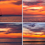 sunset with yacht, collage thumbnail