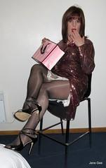 I could not possibly show that (janegeetgirl2) Tags: transvestite crossdresser crossdressing tgirl tv ts trans jane gee lff leeds first friday glitter split dress heels victorias secret tights shine glossy gloss highheels peeking slip
