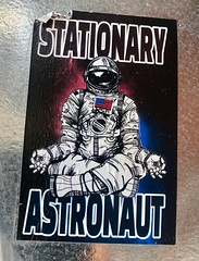 Stationary Astronaut (rabidscottsman) Tags: spaceexploration geotagged geotag travel cellphonephotography iphone8 appleiphone iphone weekend saturday damaged torn ripped southernminnesota usa minnesota mn spacesuit meditation yoga space astronaut electricalbox graffiti sticker rochester rochesterminnesota scotthendersonphotography