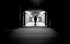 The Gate (Sven Hein) Tags: mann menschen leute strasse nacht schwarzweiss strassenfotografie thegate man people silhouette street streetlife night winter bw blackandwhite candid streetphotography olympus penf