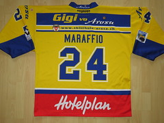 #24 Andrej MARAFFIO Game Worn Jersey (kirusgamewornjerseys) Tags: ehc arosa game worn jersey ice hockey switzerland andrej maraffio
