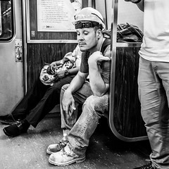 The New Yorkers - Worker (François Escriva) Tags: street streetphotography us usa nyc ny new york people candid olympus omd photo rue light black white bw noir blanc nb monochrome manhattan worker construction helmet subway underground tube
