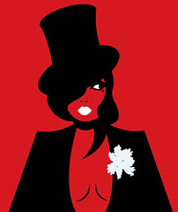a woman dressed in a black suit (illustrationvintage) Tags: woman female beautiful beauty attractive person style background adult lifestyle elegance isolated black stylish studio looking image figure glamour dress design cute pretty modern luxury model people fashion lady young girl elegant lips eye red hat redhat face secret mysterious secretitive finger nails minimalism bird simplicity redlips cabarte suit peony