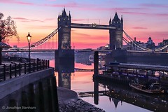 Stillness on Sunday (_Jon Benham_) Tags: lowlight sunrise city thames river towerbridge london