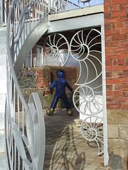 Spiral (Glass Horse 2017) Tags: northyorkshire whitby godboldblacksmithsltd jamesgodbold forgegarage egton wroughtiron metal mildsteel galvanised artwork blueman goldenboots spirals ammonite spiralstaircase shadows