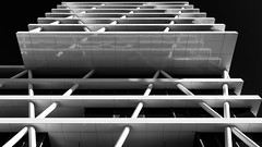 Lines (Leipzig_trifft_Wien) Tags: line structure pattern facade building black white blackandwhite bnw monochrome urban city architecture modern contemporary reflection lookup lookingup