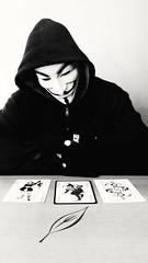 Pick a card (4 of 4) (PhotoJester40) Tags: indoors inside bnw blackandwhite blackwhite noirblanc bw me memyselfandi posing jokercards amdphotographer guyfawkesmask mask goth gothic mysterious 4of4 male