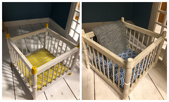 Mouse crib makeover (Foxy Belle) Tags: doll dollhouse mouse house 112 recycle remake craft diy toy play furniture