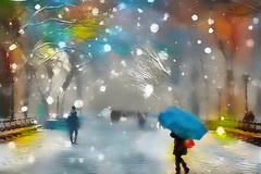 Will the snow ever end? (jackaloha2) Tags: snow winter blizzard umbrella path walkway people walkers glow muted colors lampposts benches texture layers photoshopcc