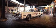 Car parked at Stockyards Station - Fort Worth, TX (acstnl) Tags: sony a7iii car horns fort worth stockyards takumar pentax asahi 50mm 14 smc station static bokeh pano panorama bokehrama brenizer