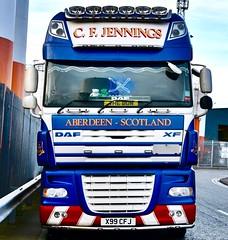 DAF XF - Aberdeen Harbour Scotland - 21/12/2018 (DanoAberdeen) Tags: x99cfj v8 v12 dafxf105 105460 haulier trucks amateur candid transport cfjennings haulage danoaberdeen dafxf xf daf scania flatbed truckfest truck lorry 2018
