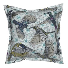 hum sun honey birds serama throw pillow (Scrummy Things) Tags: hummingbirds sunbirds honeyeaters birds pollinators illustration spoonflower roostery sharonturner flowers serama throwpillow cushion nature