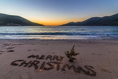 Merry Christmas (Vagelis Pikoulas) Tags: christmas tree lights beach sea seascape landscape colors sunset porto germeno greece europe travel holidays winter december 2018 canon 6d tokina 1628mm