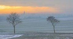 Les couleurs de l'hiver - The colours of winter (olivier_kassel) Tags: passage landscape snow beige river winter arbres trees coucherdesoleil sunset ciel sky nuages clouds champs fields village church église clocher belltower brouillard fog