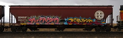 Dunzo/Lestr (quiet-silence) Tags: graffiti graff freight fr8 train railroad railcar art dunzo lestr dib hopper bnsf bnsf450473