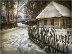 Rural landscape. (odinvadim) Tags: iphoneart landscape iphoneonly winter iphonex iphoneography specialist painterlymobileart snapseed evening travel artist frost oldhouse textured forest textures editmaster icolorama