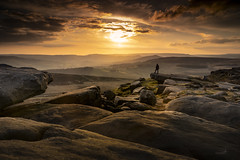 Stood On the Edge (Waving lights in the dark) Tags: landscape evening sunset derbyshire contrejour peakdistrict peak scale composition afternoon rocks rock edge stanageedge sky drama dramatic unsuspecting stood figure silhouette warm sonya7 24105mm 24105 cloud clouds human element