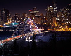 Walterdale Bridge (S.S82) Tags: edmonton night northsaskatchewanriver downtown walterdalebridge longexposure buildings canada structures skyline alberta ss82 dark ca