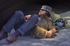 Sidewalk Napping (Scott 97006) Tags: man sleep sidewalk dog pet companion