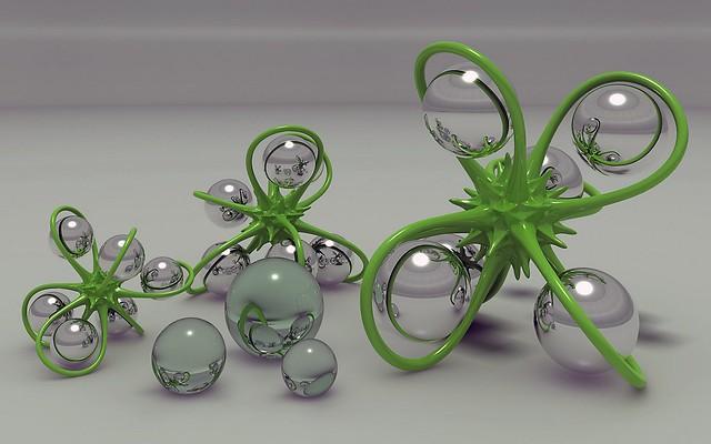 Обои digital art, 3d, шары, фигурка картинки на рабочий стол, фото скачать бесплатно
